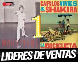 """""""Monstruos"""" de Leiva y """"La Bicicleta"""" de Carlos Vives y Shakira nº 1 en nuestro país"""