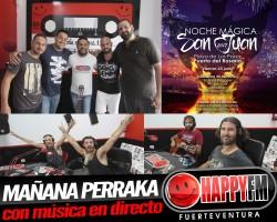 (fotos) Mañana Perraka en los estudios de Happy FM Fuerteventura con los grupos de la noche de San Juan