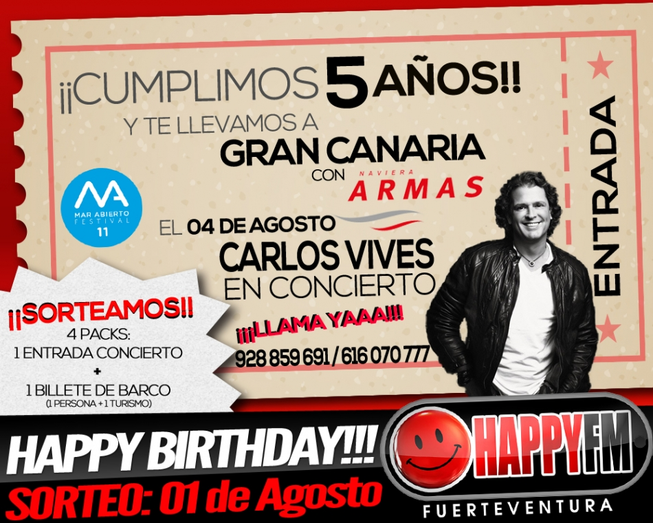 ¿Quieres irte a ver a Carlos Vives a Gran Canaria totalmente gratis?