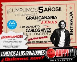 Tenemos a los ganadores de las entradas al concierto de Carlos Vives