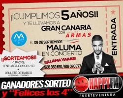 Ganadores del sorteo para el concierto de Maluma… Ya tenemos a los 4 felices