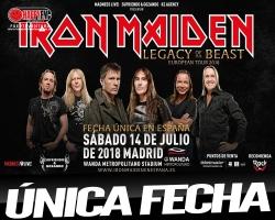 Único concierto de Iron Maiden en Madrid en 2018