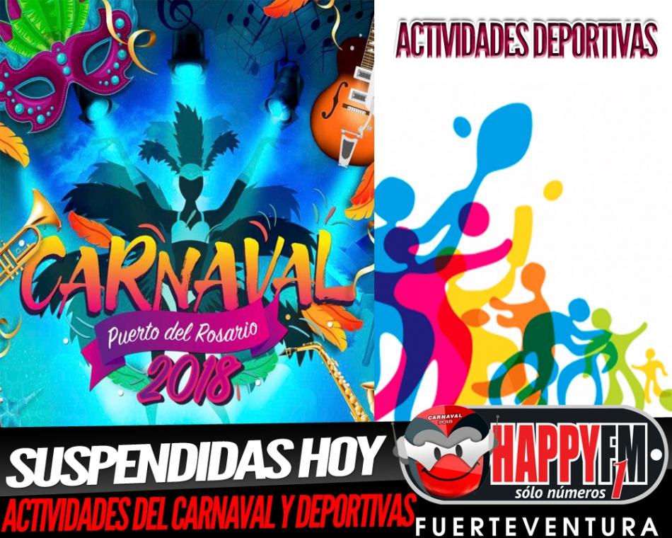 Suspendidos actos del carnaval y actividades deportivas hoy miércoles, 7 de febrero en Puerto del Rosario