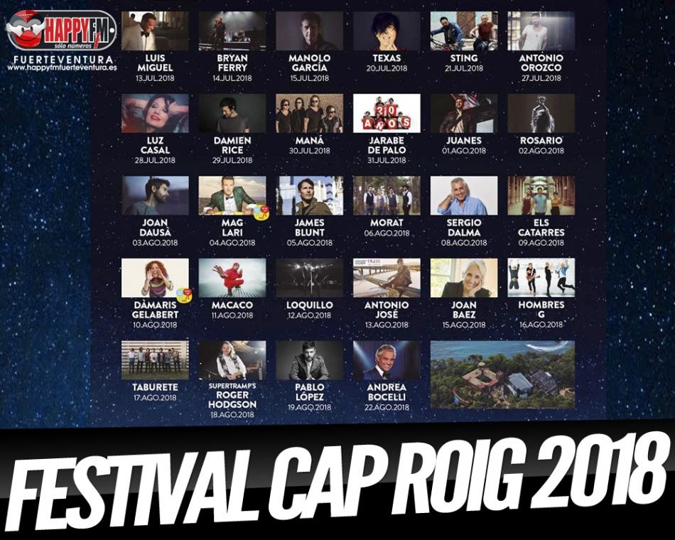 Sting, Juanes, Maná, Taburete Y Jarabe de Palo, algunos de los artistas del Festival Cap Roig 2018