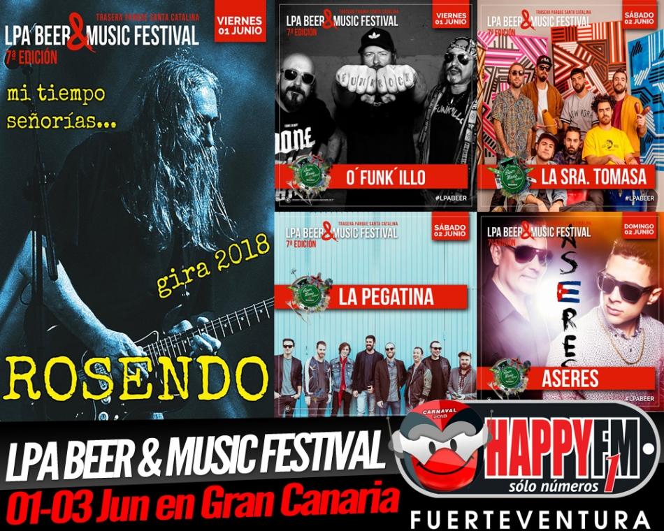 Rosendo, La Pegatina, O'Funki'llo, La Sra. Tomasa y Aseres en LPA & Beer Music Festival 2018