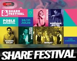 Rita Ora, Abraham Mateo, Álvaro Soler, Morat y Sebastian Yatra en el Share Festival
