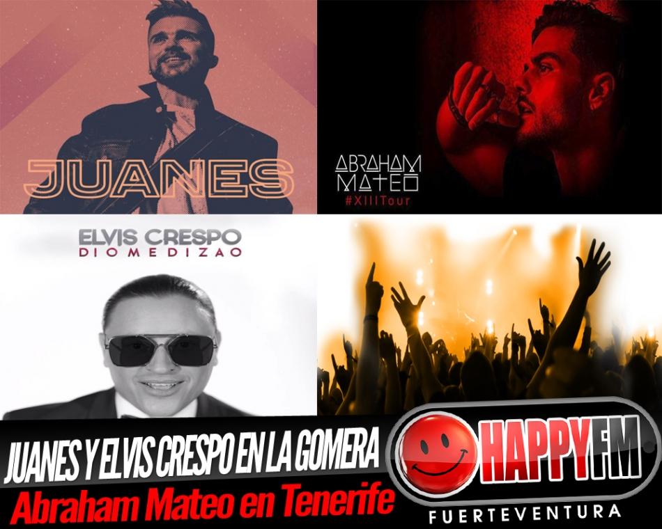 Juanes y Elvis Crespo de concierto en La Gomera y Abraham Mateo en Tenerife