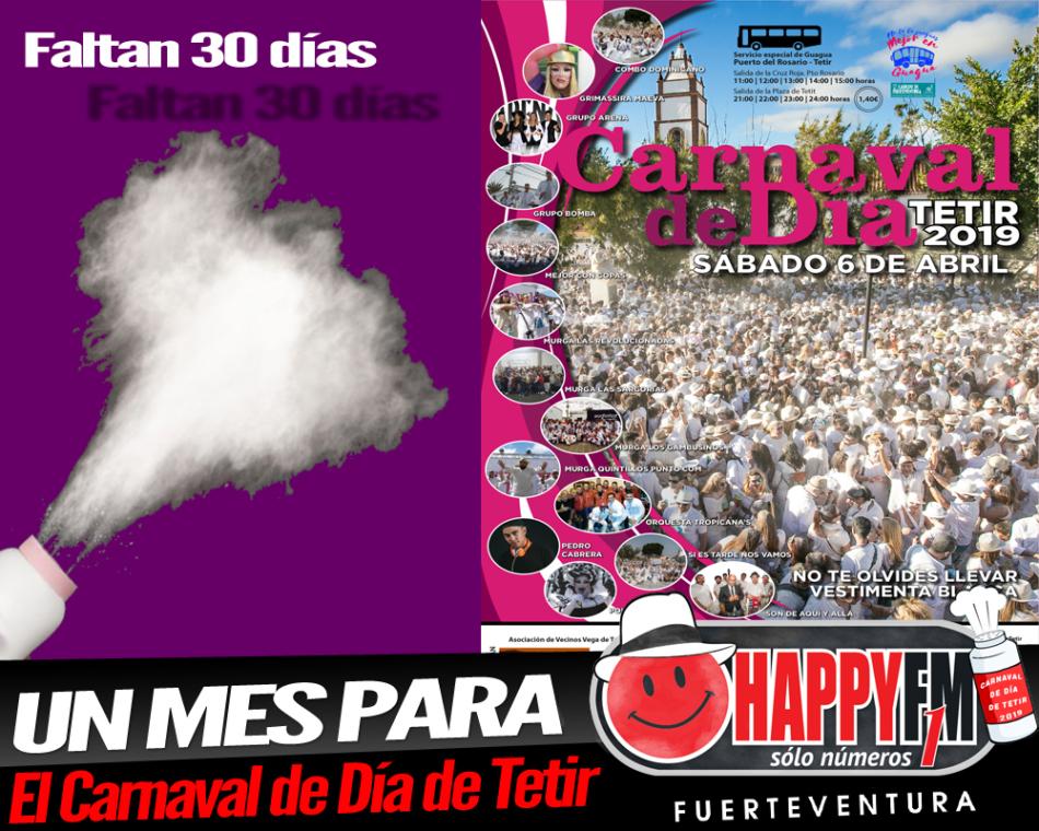 Comienza la cuenta atrás para el Carnaval de Día de Tetir 2019