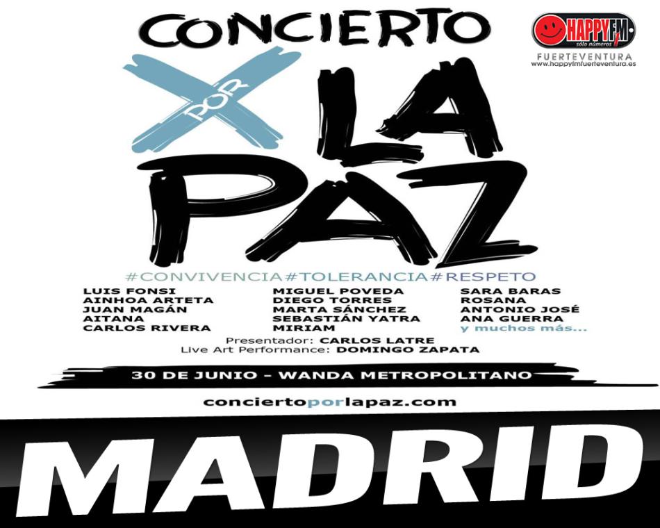 Luís Fonsi, Carlos Rivera, Sebastian Yatra, Rosana, Aitana, Antonio José y Miguel Poeveda son algunos de los artistas que participarán en el Concierto por La Paz