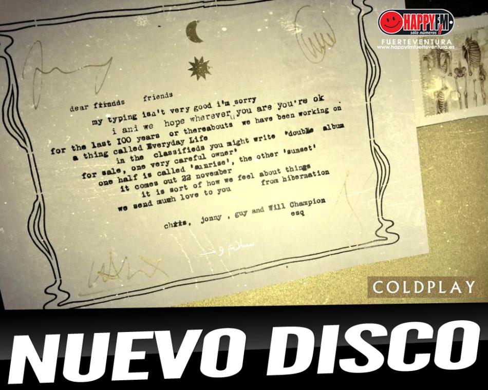 Coldplay anuncia nuevo disco para Noviembre
