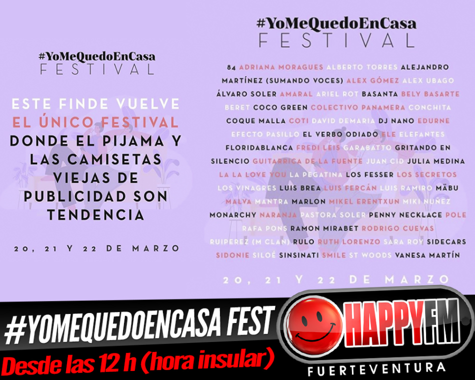 Cartelazo del segundo fin de semana del #YoMeQuedoEnCasaFestival